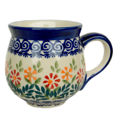 Polish Pottery Mug Round (m) - Pattern Adelheid