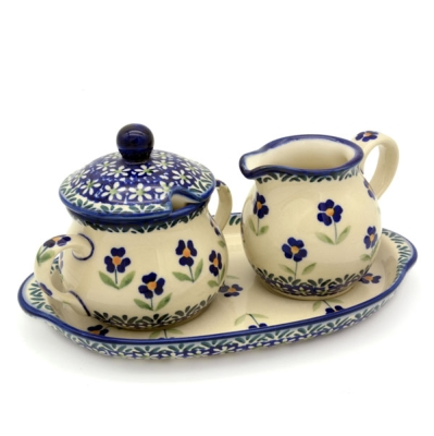 Polish Pottery sugar and creamer set angelika design