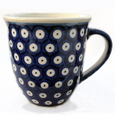 "Polish Pottery ""Mars"" Mug (l) Pattern Blue Spot"