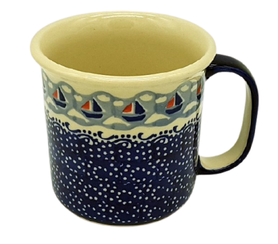 Polish Pottery Mug Straight Large Pattern Ahoi