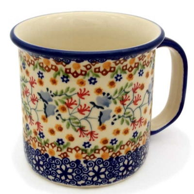 Polish Pottery straight mug large, Florac design