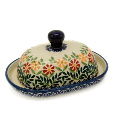 Polish Pottery half portion butter dish
