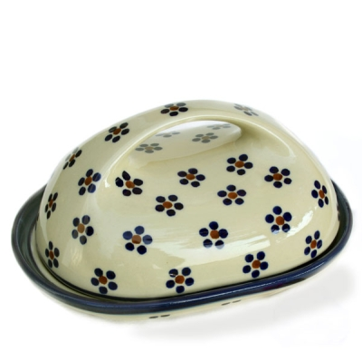 Polish Pottery butter dish oval large handle, Marguerita pattern - 2.Qual.