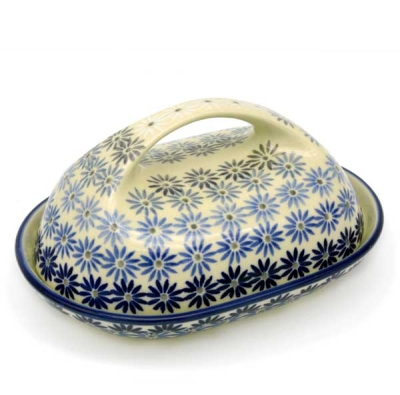 Polish Pottery Butterdish Oval (l) handle Pattern Aster