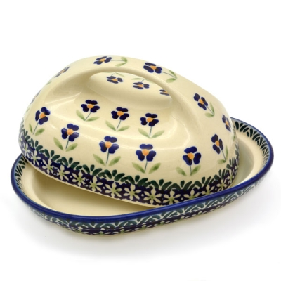 Polish Pottery butter dish large handle , angelika design