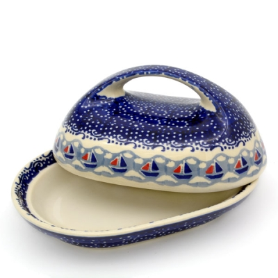 Polish Pottery Butterdish oval with large handle in Pattern Ahoi