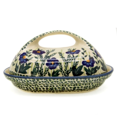 Polish Pottery Butterdish - Pattern Blaue Primel