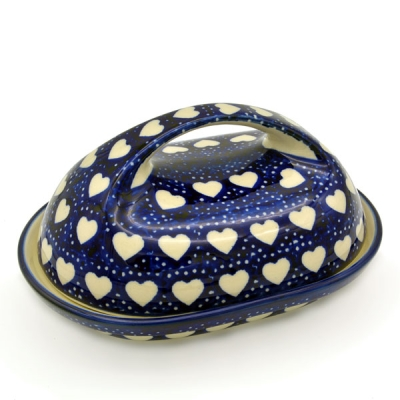 Polish Pottery oval butter dish loveheart pattern