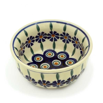 Polish Pottery side dish slightly waved Bunzlau Flower pattern