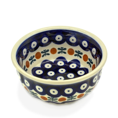 Polish Pottery Rippled Bowl - Pattern Garland
