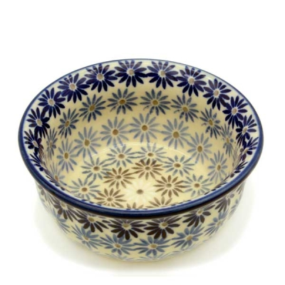 Polish Pottery Bowl Rippled - Pattern Aster
