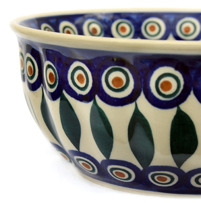 Polish Pottery Bowl Rippled in Eye of Peacock pattern