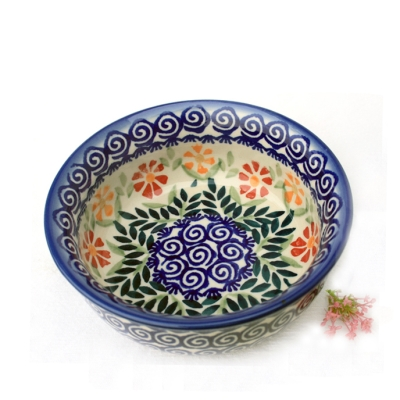 Polish Pottery Pudding Bowl - Pattern Adelheid