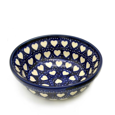 Polish Pottery cereal bowl small, Hearts design