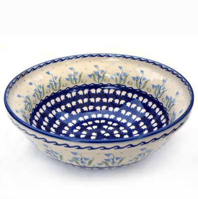 Polish Pottery Salad bowl 24 cms bellflower design