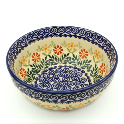 Polish Pottery Salad Bowl - Pattern Adelheid