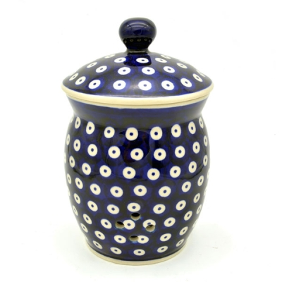 Polish Pottery Garlic Jar 1 litre - Pattern Blauauge