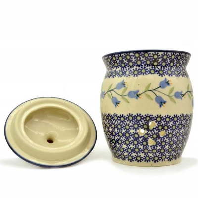 Polish Pottery garlic jar with lid and holes for circulation