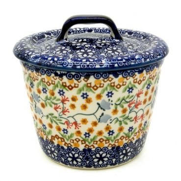 Polish Pottery Lard Pot - Lid - Pattern Florac