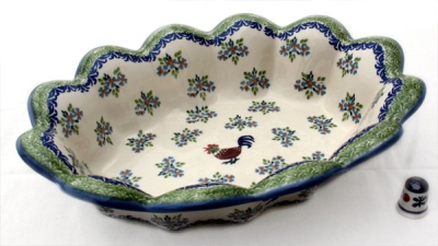 Polish Pottery Fruit Basket - Pattern Bianca