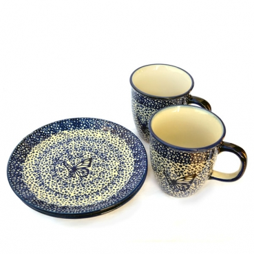 Polish Pottery Breakfast Set of 2 plates 21,5 cms and 2 mugs Mars 260 ml, Blue Butterfly pattern