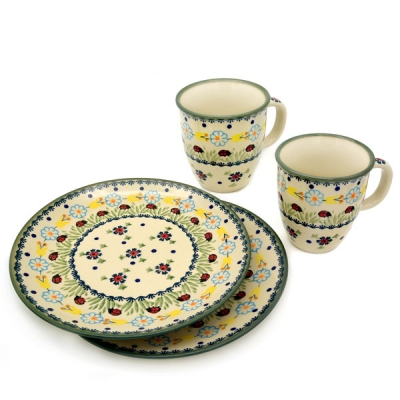 Polish Pottery Breakfast Set of 2 plates 21,5 cms and 2 mugs Mars 260 ml, Ladybird pattern