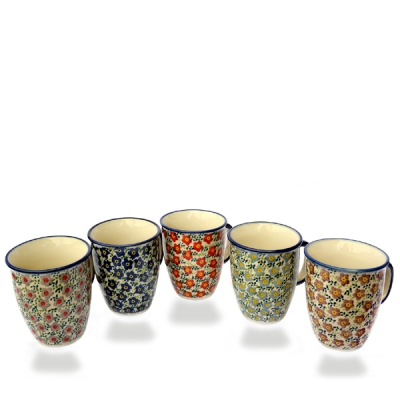 "Polish-Pottery-set of 5 mugs ""Mars"" Viola design, 5 different colours"