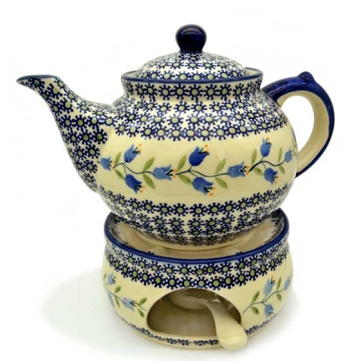 Polish Pottery Teapot for 6 cups with warmer, design Agnes
