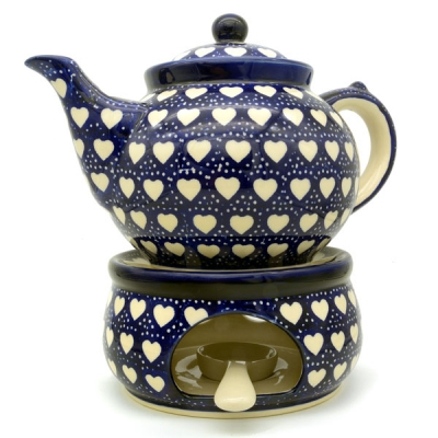 Polish Pottery Teapot for 6 cups with warmer, design Heards