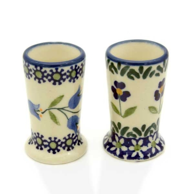 Set Polish Pottery mini cups -  Pattern Agnes and Angelika