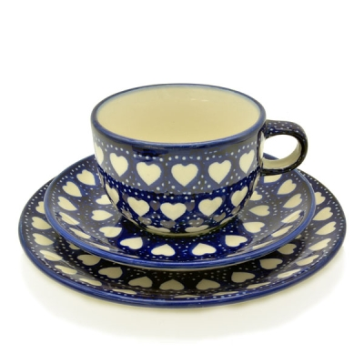 Polish Pottery set of breakfast plate , cup and saucer heard pattern