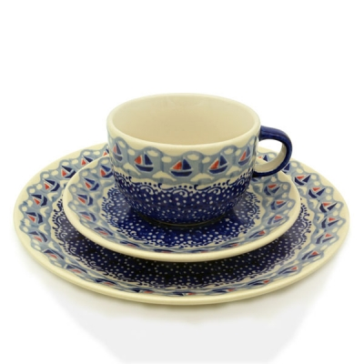 Polish Pottery set of breakfast plate, cup and saucer ahoi pattern