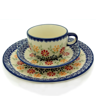 Polish Pottery set of breakfast plate, cup and saucer adelheid pattern