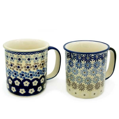 Polish Pottery set of 2 straight mugs, different patterns