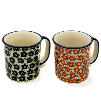Polish Pottery set of 2 straight mugs - Viola blue and red pattern