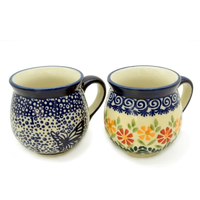 Polish Pottery set of two belly mugs, Blauer Falter and Adelheid design