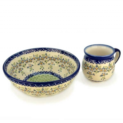 Polish Pottery Breakfast SET with small cereal bowl and belly mug, Barbara Design
