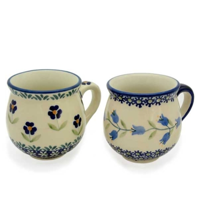 Polish Pottery set of two belly mugs, Agnes and Angelika design