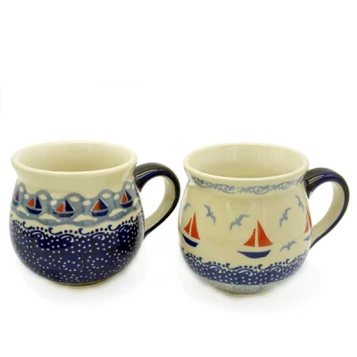 Polish Pottery set of two belly mugs, Ahoi and sail design