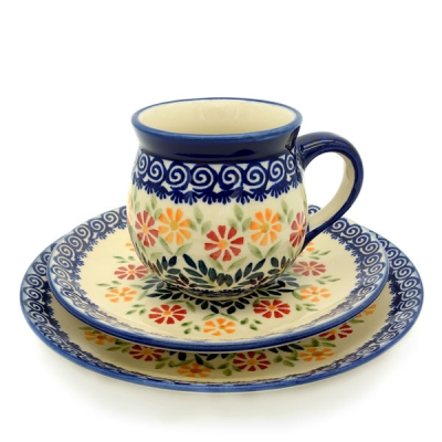 Polish Pottery set cornflower pattern