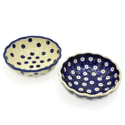 Polish Pottery Scallop Dish (s) - Pattern Bluespot and Polka