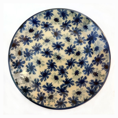 Polish-Pottery-dessert-plate-cornflower-design