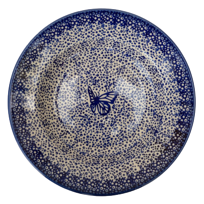 Polish Pottery Soup Plate in Pattern Blue Butterfly