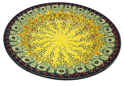 Polish Pottery soup plate design Gold rain