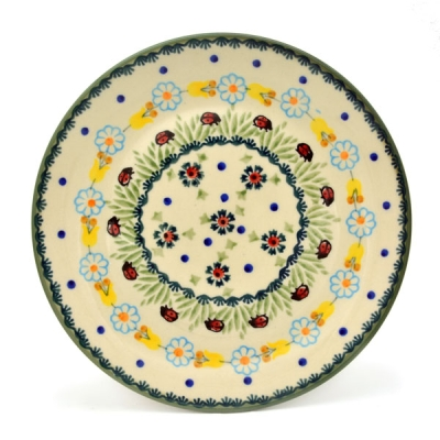 Polish Pottery Breakfast Plate - Pattern Ladybird