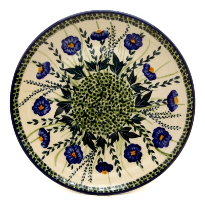 Polish Pottery Breakfast Plate in Pattern Blaue Primel