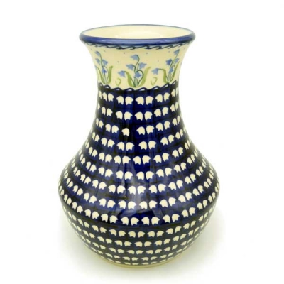 Polish Pottery vase (h) 25 cm in Bell Flower Pattern
