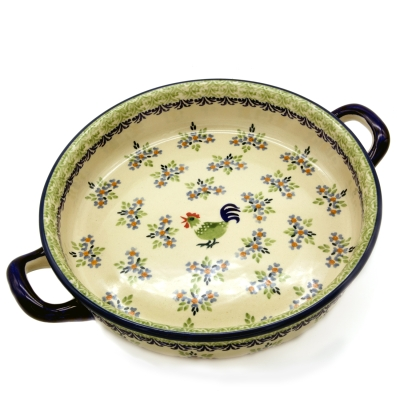 Polish Pottery Baker round with handles Pattern Bianca