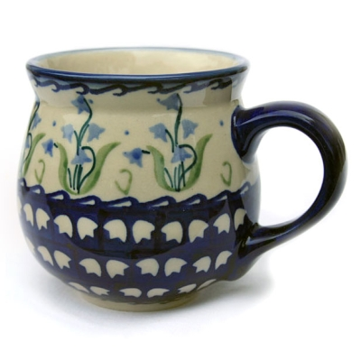 Polish Pottery belly mug medium size, bellflower design