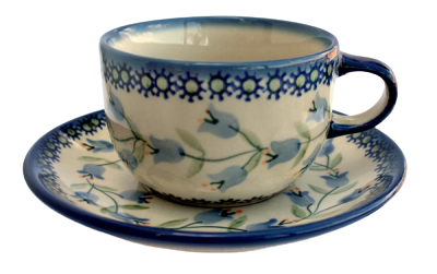 Polish Pottery Cup & Saucer SET - Pattern Agnes